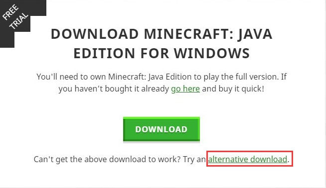 Try an Alternative Download to minecraft