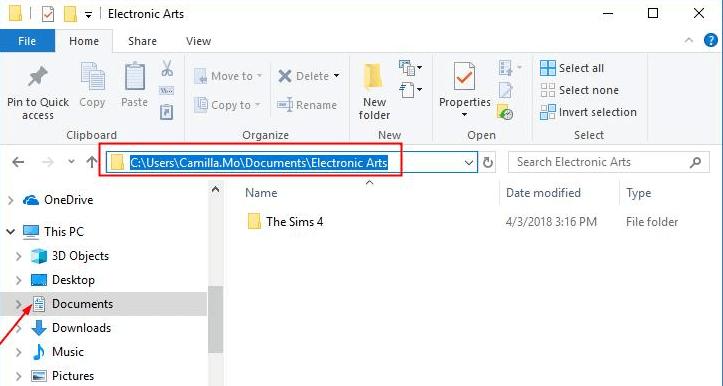 navigate Electronic Arts folder