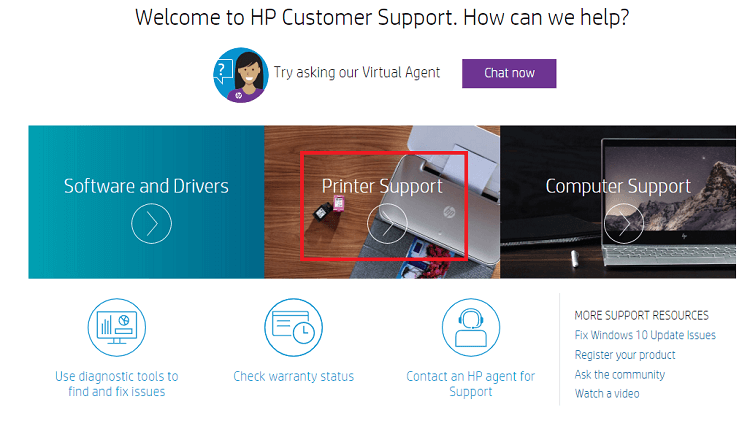 printer support for HP printer