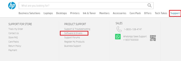 support tab and choose Support & Drivers