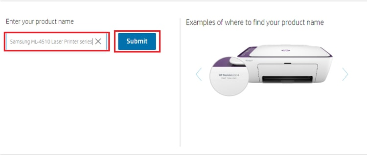 enter your printer name or model number and submit