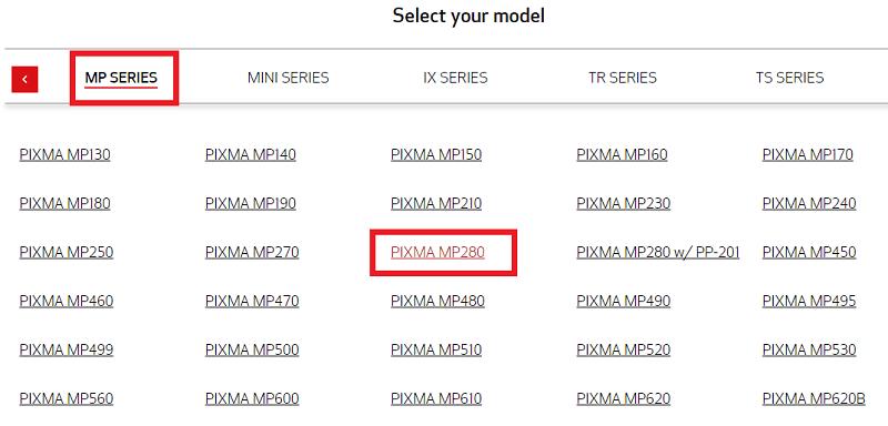 choose PIXMA MP280
