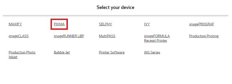 click on pixma device