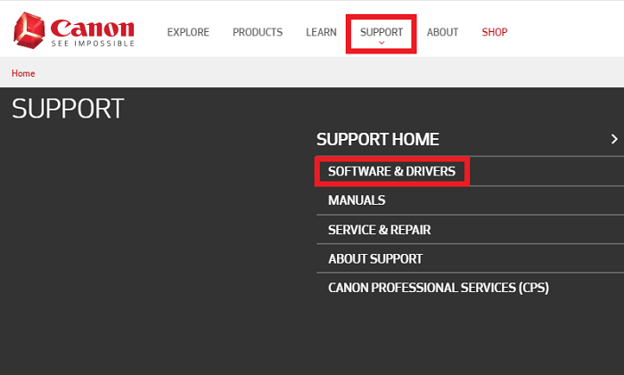 software and drivers from canon support