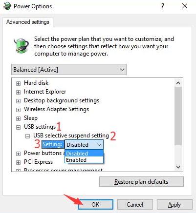 USB Selective Suspend Settings