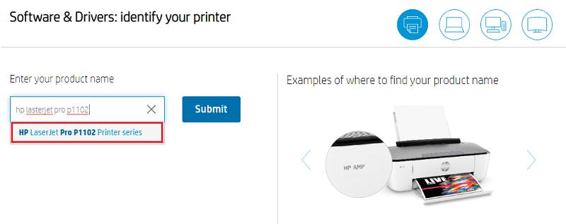 type hp laserjet pro p1102 printer driver in search box