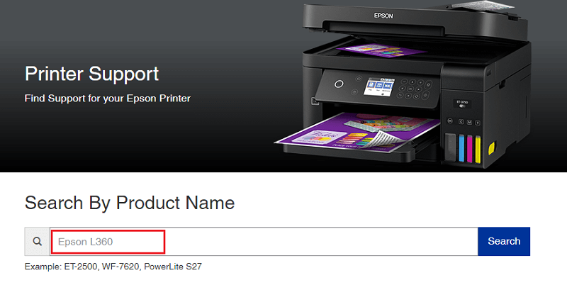 type epson L360 in search box