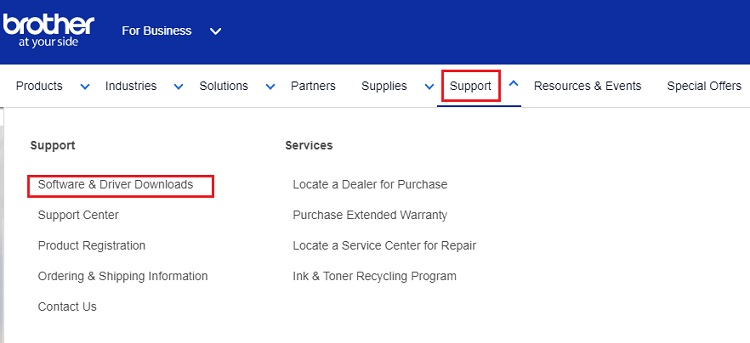 Software & Driver Downloads from brother support menu