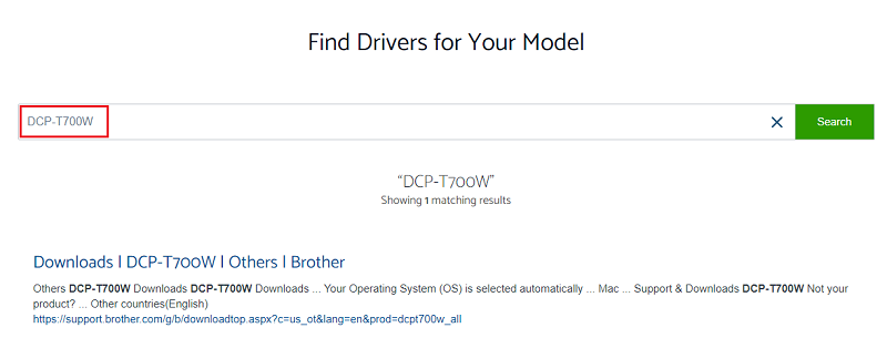 type Brother DCP-T700W in search box