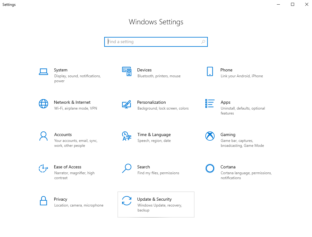 Choose Update & Security from Windows Settings