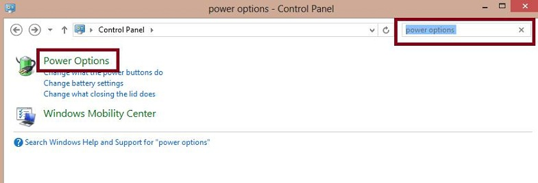 Click On Power Options