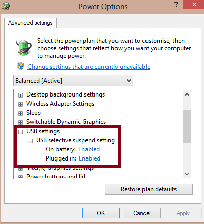expand the USB Selective Suspend Setting feature