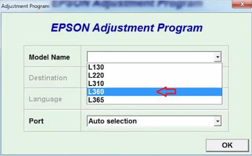 choose the model name of your Epson printer