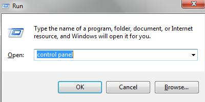 type Control Panel in Run dialog box