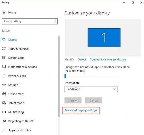 click on the Advanced Display Settings