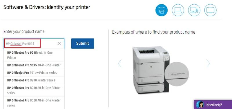 Type HP OfficeJet Pro 9015 in Search Box
