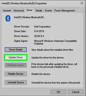 click on the Update Driver option