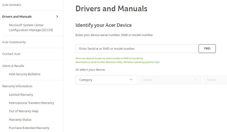 Enter Your Model Number and Search Drivers