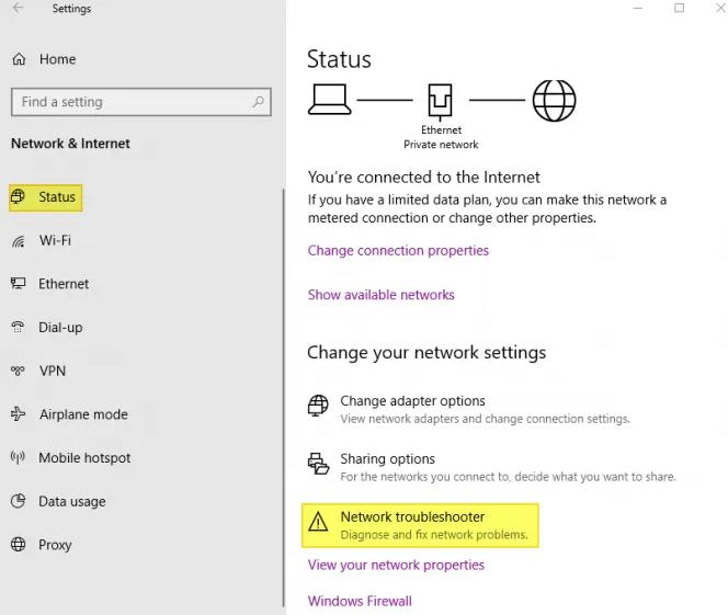 click on the Network Troubleshooter option