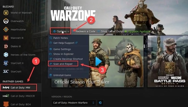 click on the Call of Duty MW