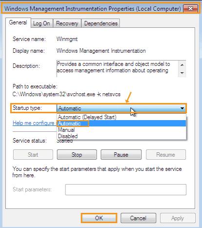 Set Windows Management Instrumentation Startup Automatic