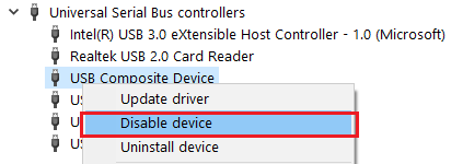 Disable USB Controller Device