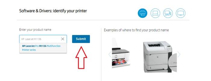 Type HP LaserJet MF1136 Pro in Search Box