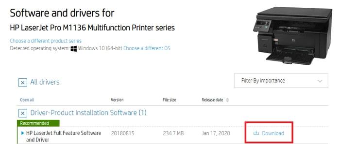 Download HP LaserJet Pro M1136 Driver