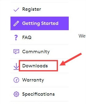 Choose the Downloads option