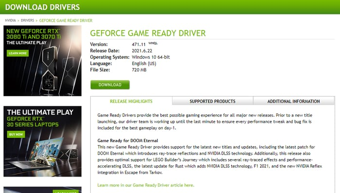 Select Driver then Download button