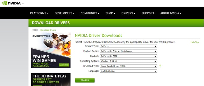 Search for NVIDIA Product