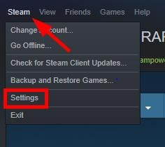 Click on Steam then Settings