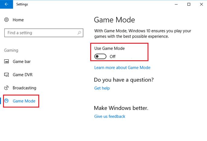 Set Game Mode Turn Off