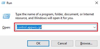 Type control appwiz.cpl in Run Utility