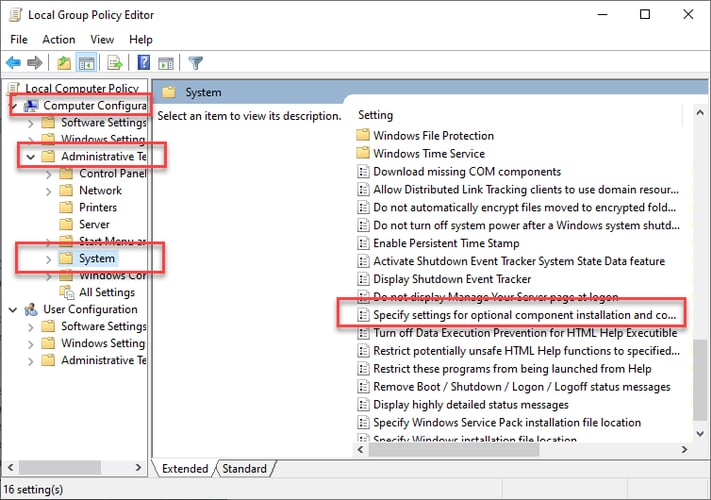 Choose Specify settings for optional component installation and component repair