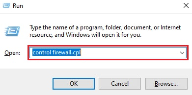 Type control firewall.cpl in Run Utility