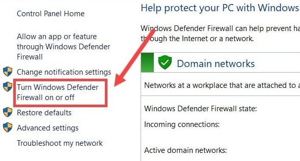 Choose Turn Windows Defender Firewall on or off Option