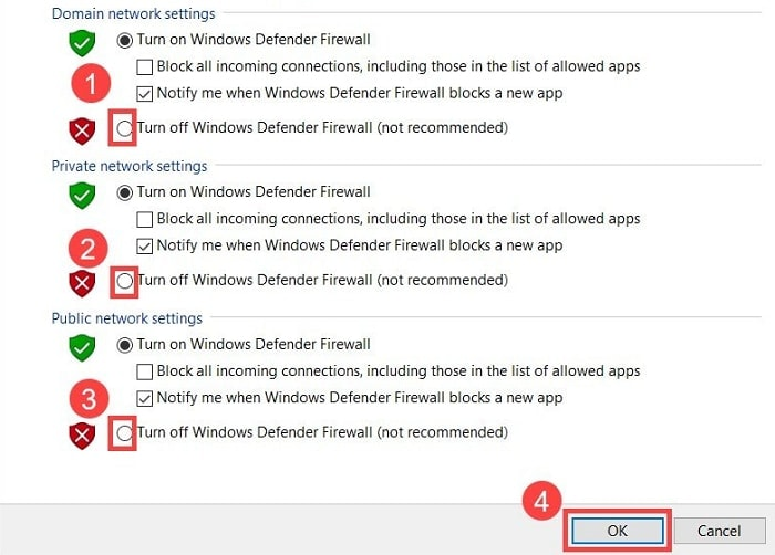 Turn Off Windows Defender Firewall (Not Recommended)