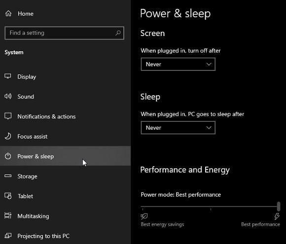 Set Both Options Screen and Sleep to Never