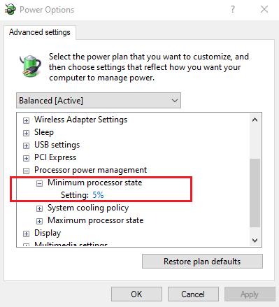 Set Minimum Processor State