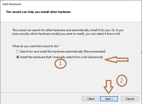 Select Install the hardware that I manually select from a list (Advanced)