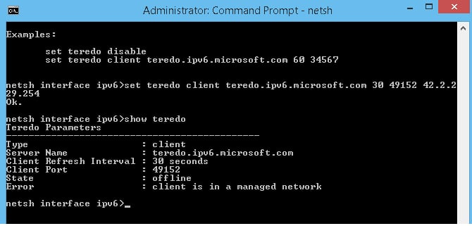 Type netsh interface Teredo set state type=default in Command Prompt