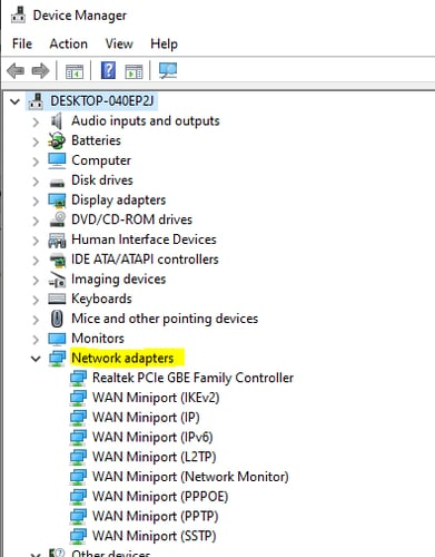 Select the Network Adapters in Device Manager