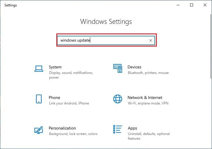 Type windows update on Windows Settings Search Bar