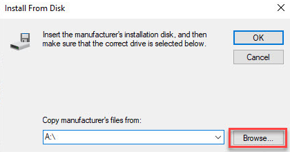 Browse Software file for Install From Disk