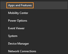 Select Apps and Features