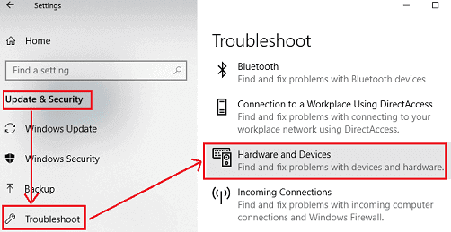 Click on Hardware and Devices under Troubleshoot Menu