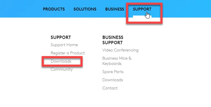 Click the Downloads in Support Tab From Logitech Official Site