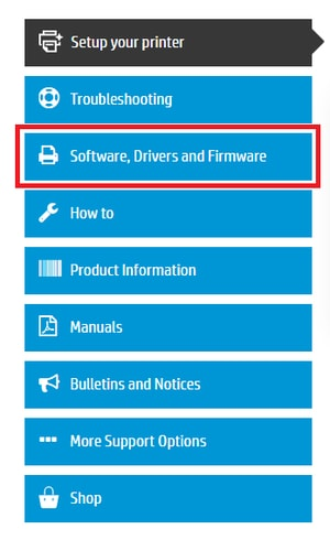 Click on the option of Software, Drivers and Firmware