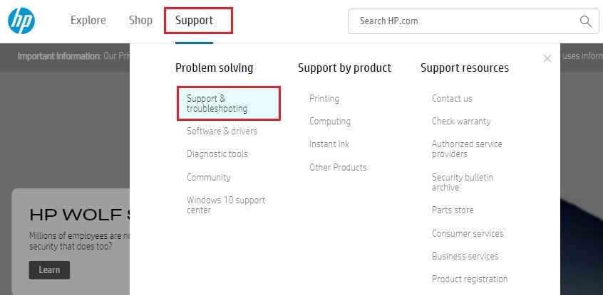 Support & Troubleshooting from support tab of HP official site